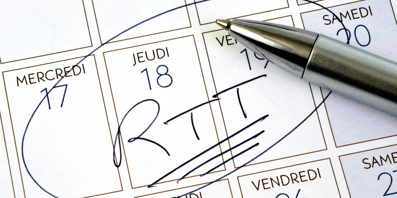 Nombre et positionnement des jours RTT 2020