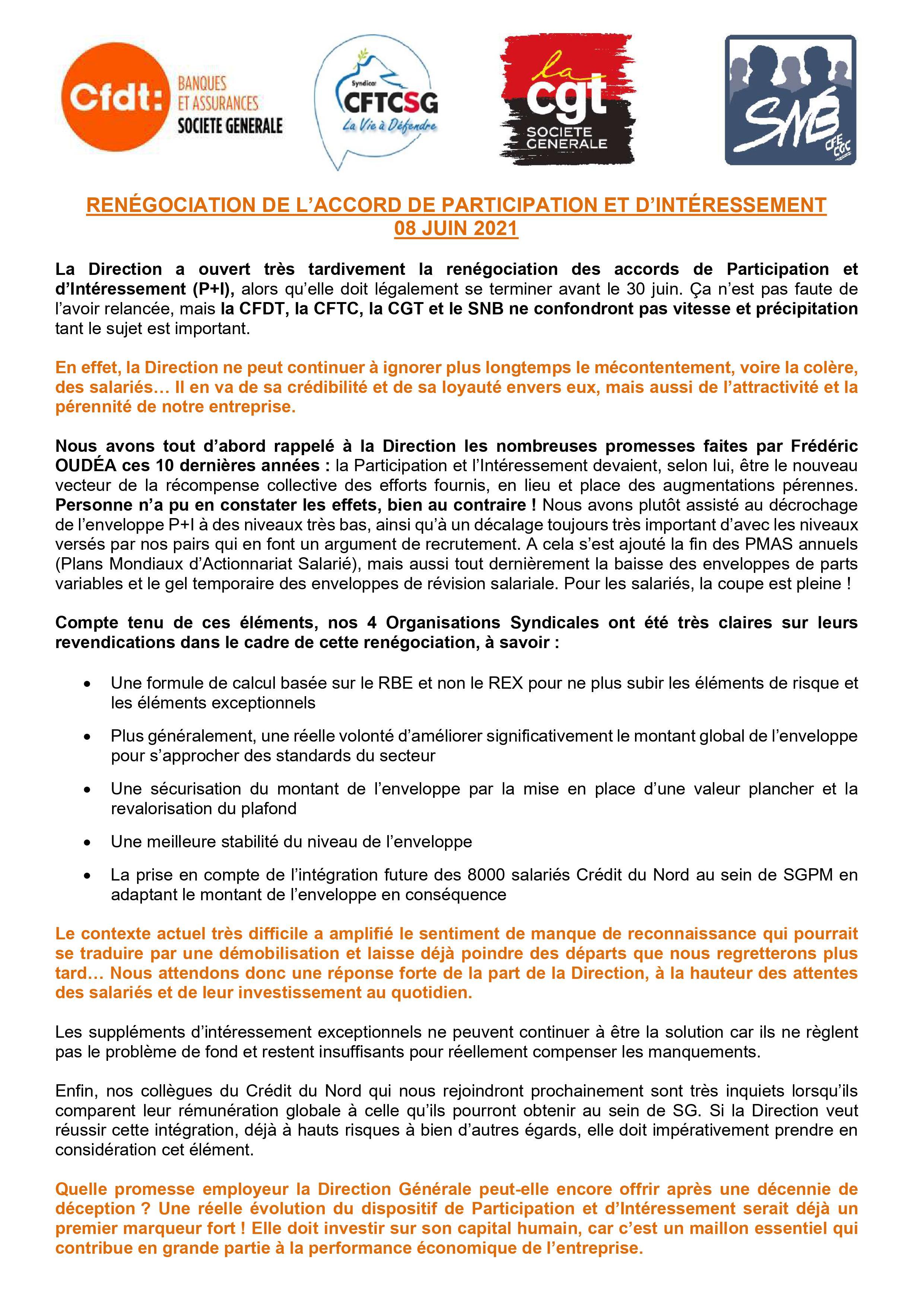 Unité syndicale pour une renégociation des accords intéressement et participation